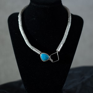 4 Row With turquoise pendent